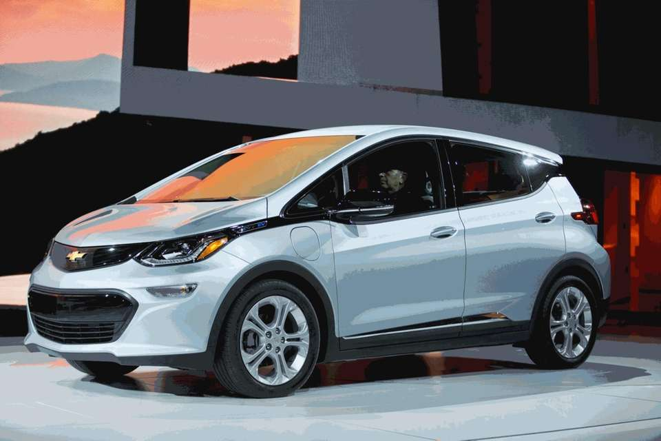 The Chevrolet Bolt drives onstage during a press