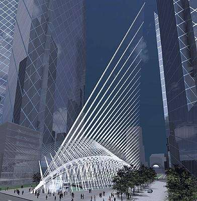 An artist's rendering of plans for the WTC