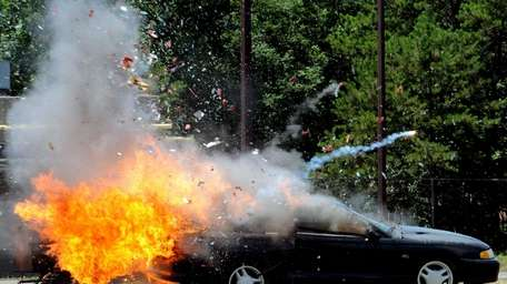 Fireworks blow up in the trunk of car