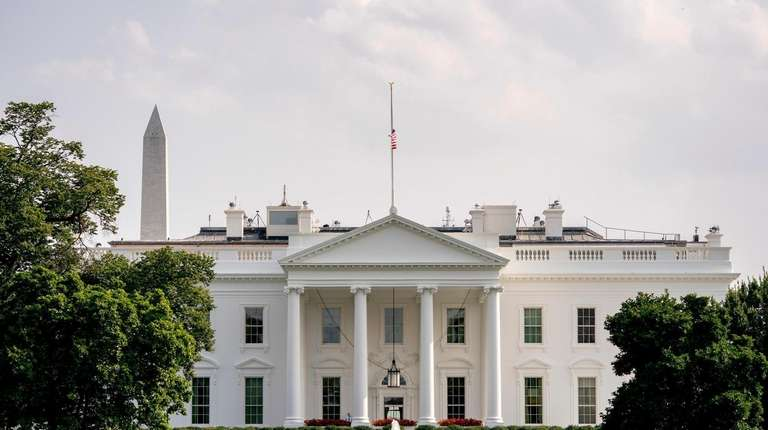 The American flag files at half-staff at the