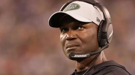 Jets head coach Todd Bowles looks up toward