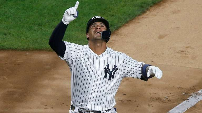 Gleyber Torres of the Yankees celebrates his fourth-inning