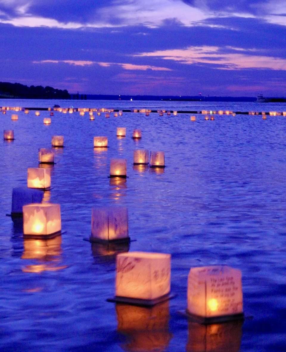 Beautifully lit lanterns afloat. Water Lantern Festival North