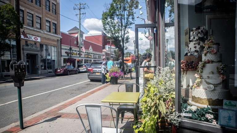 Shops and eateries line Lynbrook's Atlantic Avenue and