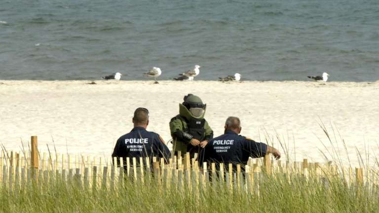 A Suffolk County Emergency Services unit investigates a