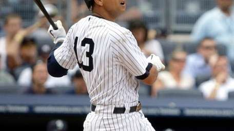 Alex Rodriguez watches his eighth-inning, two-run home run