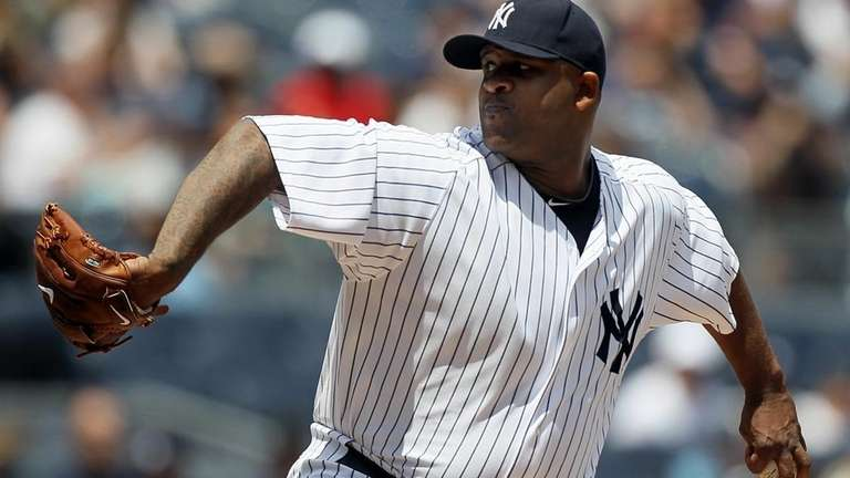 CC Sabathia of the Yankees delivers a pitch