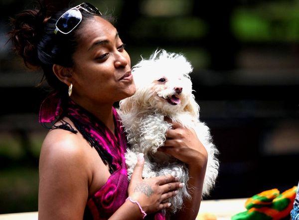 Liz Bissessar, of Franklin Square, holds her dog