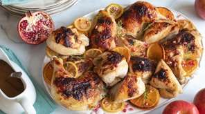 Chicken glazed with soy sauce, honey and lemon