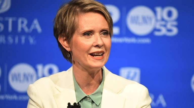 Cynthia Nixon speaks at the Democratic gubernatorial primary