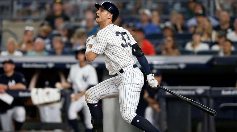 Greg Bird flies out in the fifth inning