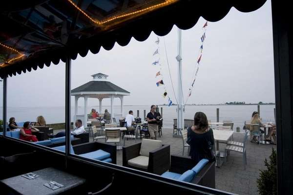 Diners on the outdoor patio of the View