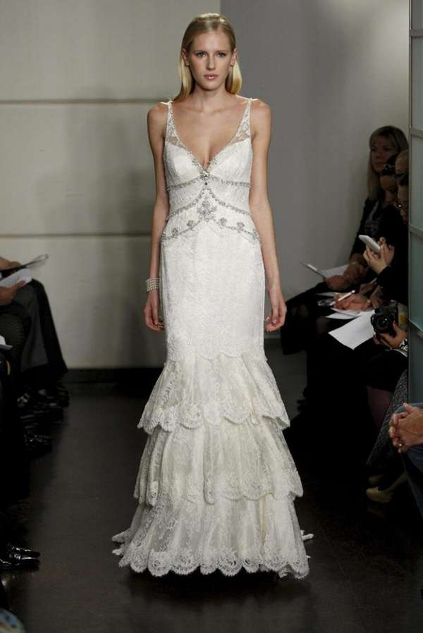 Ann Barge bridal gown with sheer plunging v-neck,