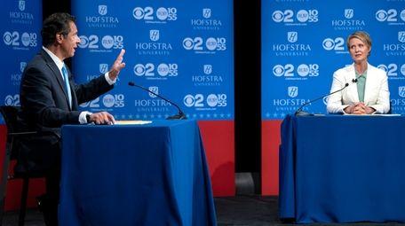 Gov. Andrew M. Cuomo and Cynthia Nixon at