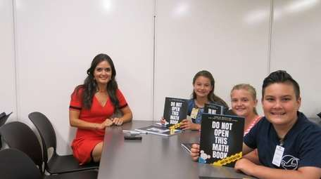 Author and actress Danica McKellar with Kidsday reporters,