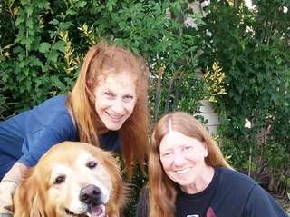 Grace Bennett, Jeanie Waters and service dog McGrew