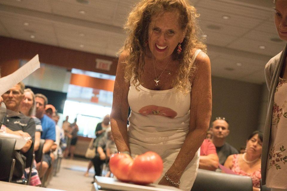 Janet Hart, of Lindenhurst, during Newsday's annual tomato