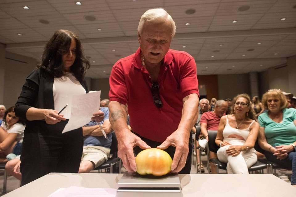 Walter O'Brisky, of Westbury, weighs his tomato during