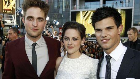 From left, Robert Pattinson, Kristen Stewart and Taylor