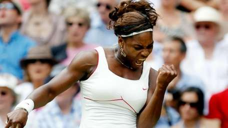 Serena Williams of USA celebrates a point during