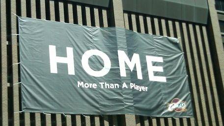 A sign awaits LeBron James as he arrives