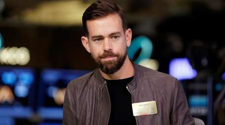 Jack Dorsey is interviewed on the floor of