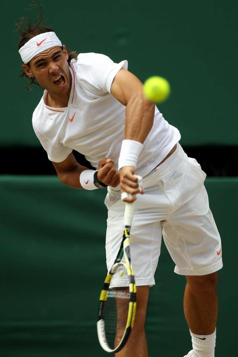 Rafael Nadal of Spain serves during the Men's