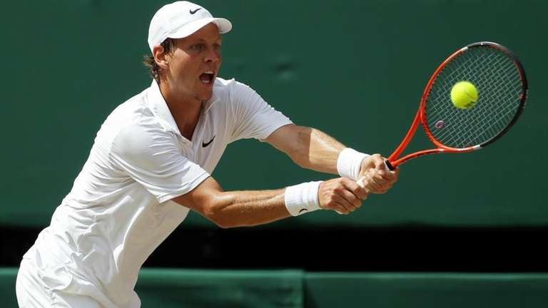 Tomas Berdych of Czech Republic in action during
