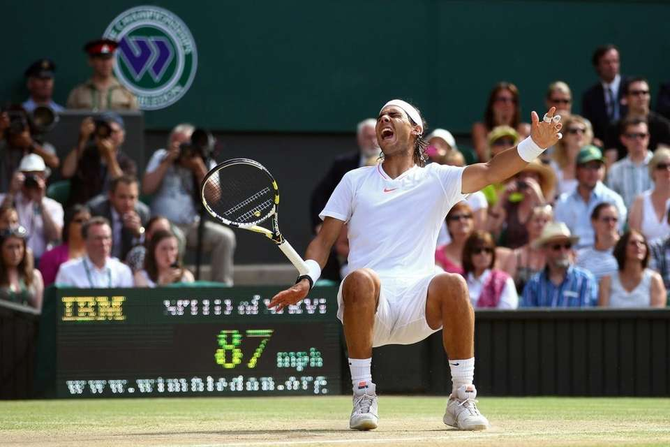 Rafael Nadal of Spain celebrates Championship Point during