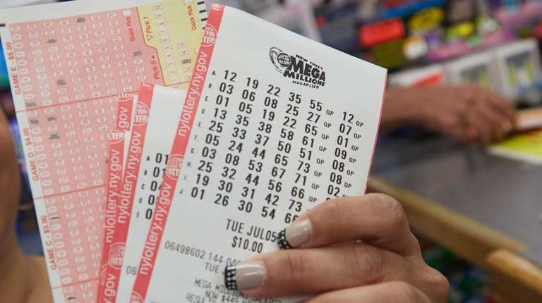 Mega Millions tickets are shown at Nesconset Cards