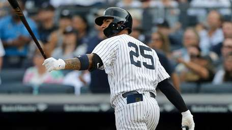 Gleyber Torres of the New York Yankees watches
