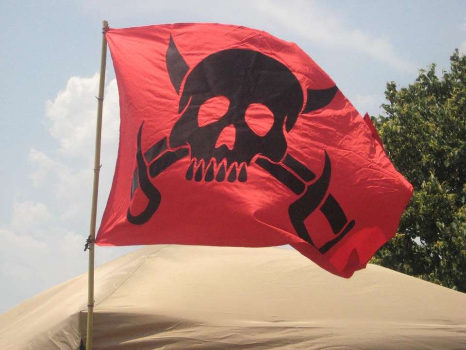 A pirate flag set up at the pirate