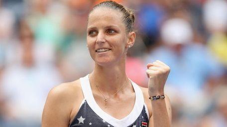 Karolina Pliskova celebrates during her match against Ashley