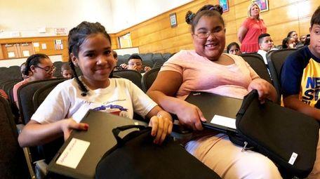 Jomalfri Aracena and Grace Harris, students at Caroline