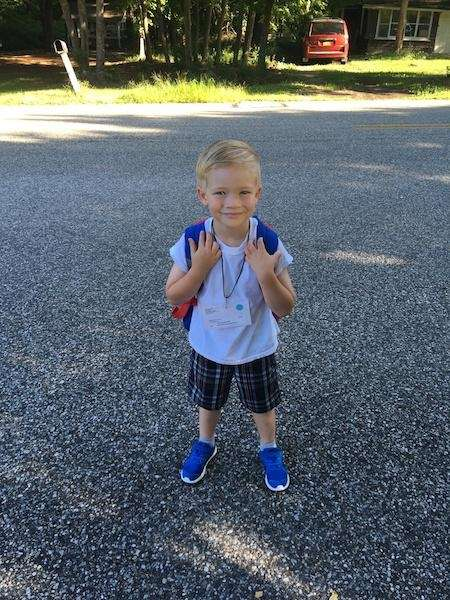 Dylan waiting for bus, first day of kindergarten!!!