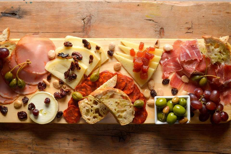A Spanish meat and cheese board, or charcuterie,