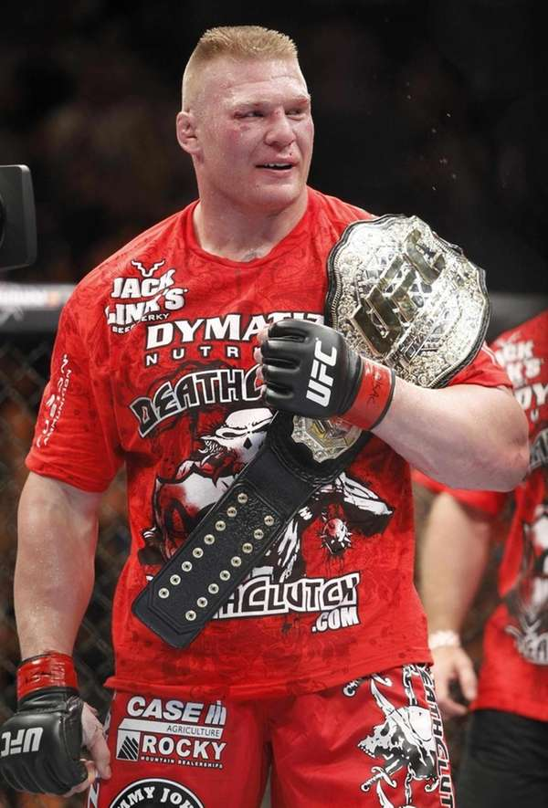 Brock Lesnar celebrates his second-round victory over Shane