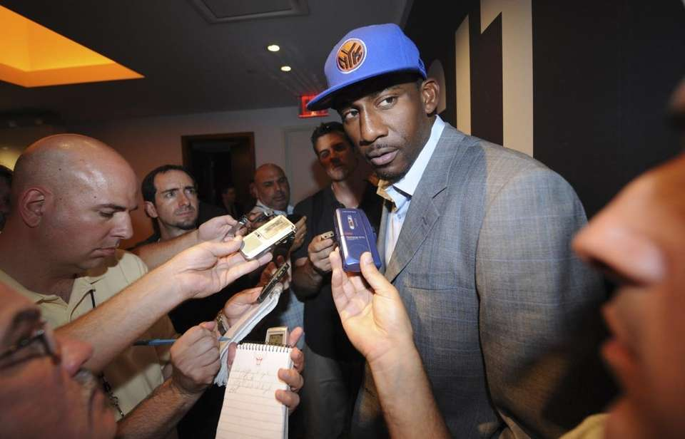 Amar'e Stoudemire is interviewed inside Madison Square Garden.