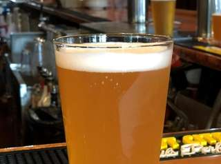 A pint of Culture Shock, a pear-lychee gose,