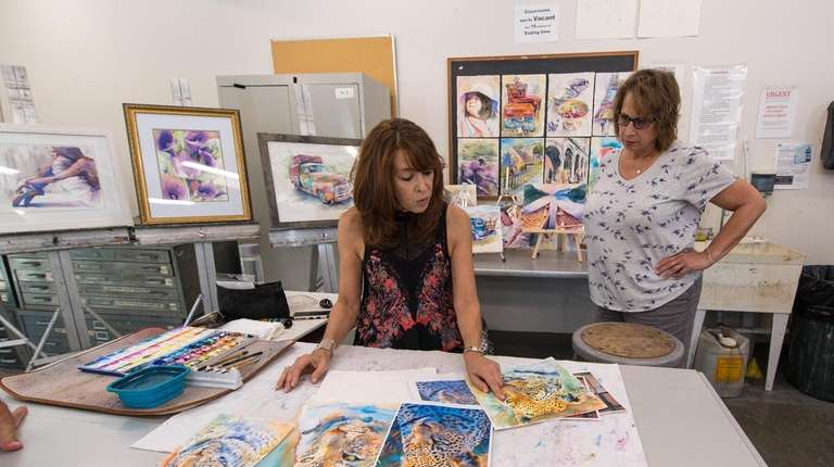 Watercolor teacher Jan Guarino, of East Northport, goes