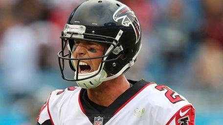 Falcons quarterback Matt Ryan reacts after wide receiver