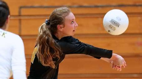 Commack girls volleyball captain Abbey Dummler gets to