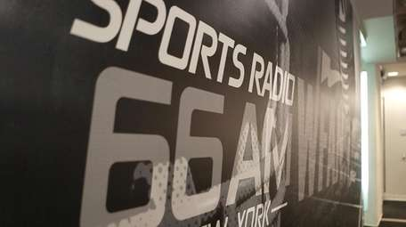 Station signage at the WFAN studios in Manhattan.