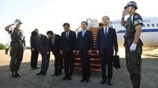 Chung Eui-yong, third from right, head of the