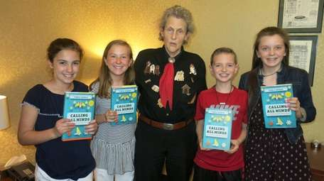 Author Temple Grandin with Kidsday reporters, from left,