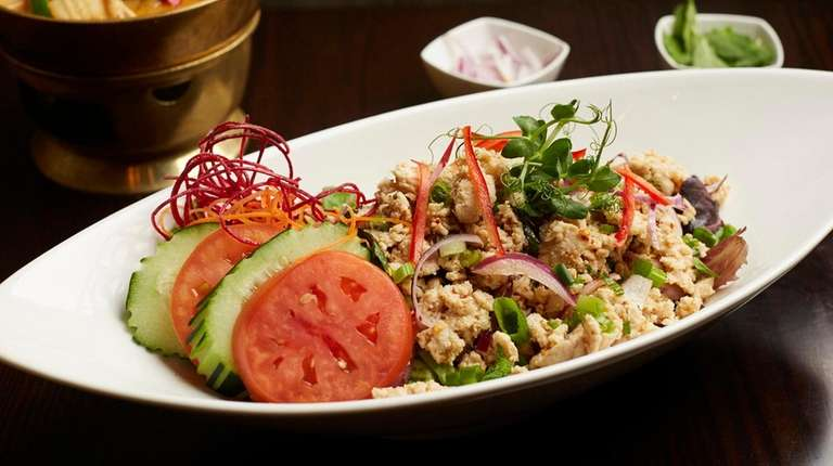 Larb gai, a spicy salad of ground chicken