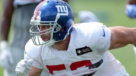 New York Giants linebacker Connor Barwin (53) runs