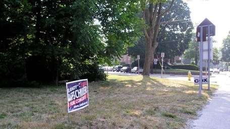 Campaign signs on Route 112 in Port Jefferson