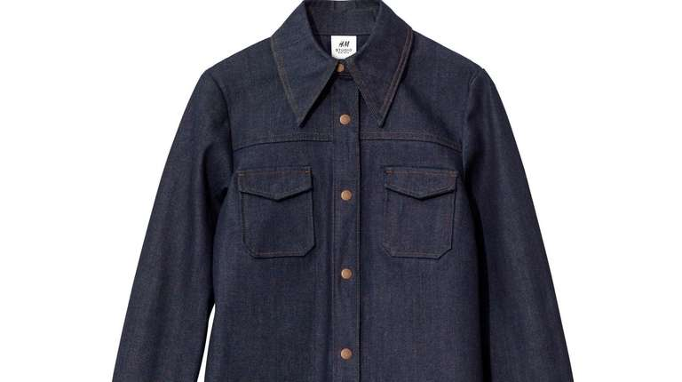 This dark denim shirt is more haute than