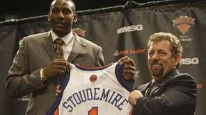 New York Knicks' Amare Stoudemire poses with Knicks